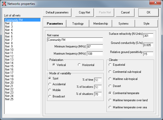 Network Properties Parameters Settings