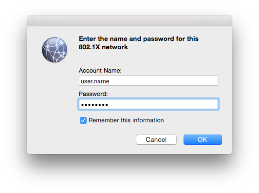 802.1x Authentication Prompt
