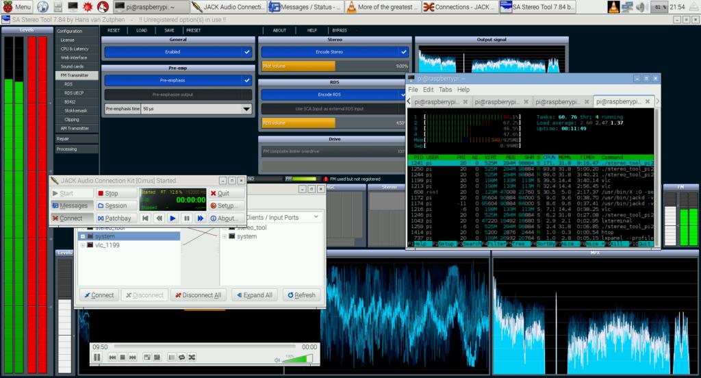 A Raspberry Pi generating the multiplexed baseband signal for FM.