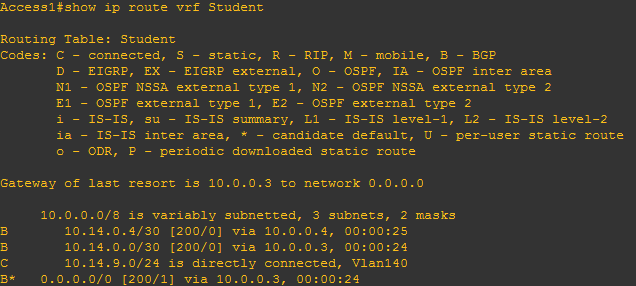 The routing table for the Student VRF on an access router.